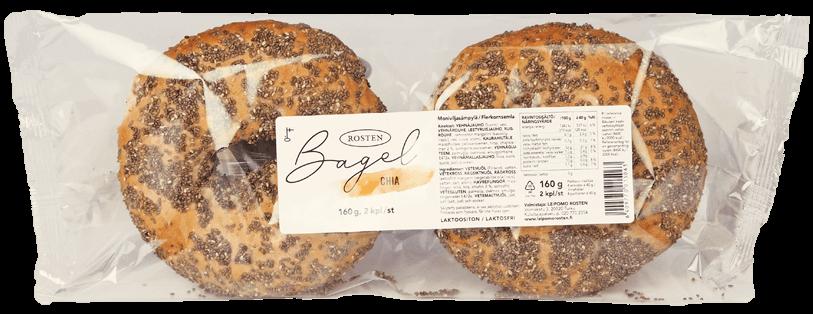 Kahden chia-siemenillä päällystetyn bagelin pakkaus